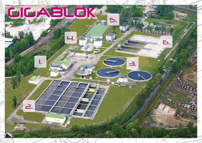 Schemat oczyszczalni ścieków Gigablok