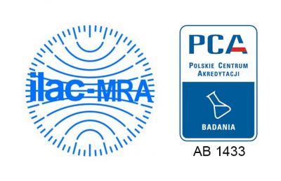 Symbol akredytacji PCA oraz znak ILAC MRA